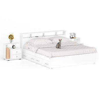 Кровать с ящиками 1800 Камелия + две тумбы белый