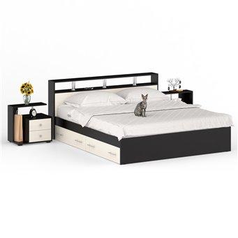 Кровать с ящиками 1800 Камелия + две тумбы венге/дуб лоредо