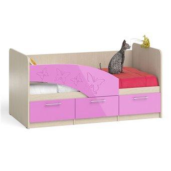 Кровать детская с ящиками Бабочки 1,6 дуб атланта/розовый глянец