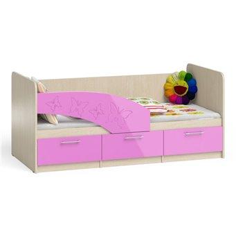 Кровать детская с ящиками Бабочки 1,8дуб атланта/розовый глянец