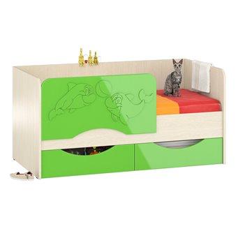 Детская кровать с ящиками Дельфин-2 1,6 дуб атланта/зелёное яблоко глянец