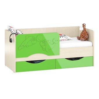 Детская кровать с ящиками Дельфин-2 1,8 дуб атланта/зелёное яблоко глянец
