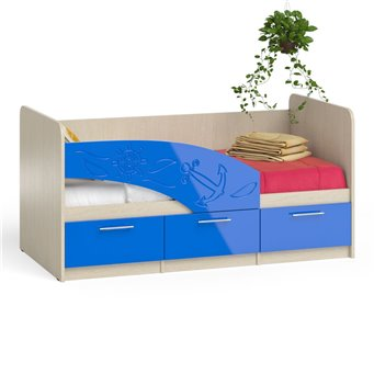 Кровать детская с ящиками Капитан 1,6 дуб атланта/синий глянец
