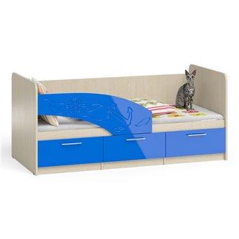 Кровать детская с ящиками Капитан 1,8 дуб атланта/синий глянец