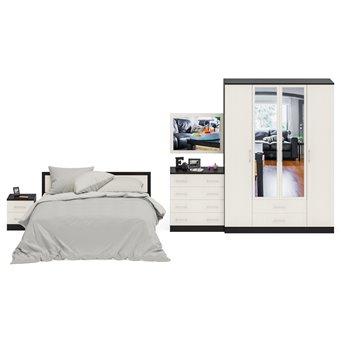 Гарнитур спальный Фиеста Комод + Зеркало + Кровать 1600 + Тумба + Шкаф 4-х створчатый венге/дуб лоредо