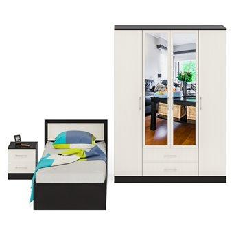 Спальный гарнитур Фиеста Кровать 900 + Тумба + Шкаф 4-х створчатый венге/дуб лоредо