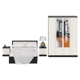Гарнитур спальный Фиеста Кровать 1400 + Две тумбы + Шкаф 4-х створчатый венге/дуб лоредо