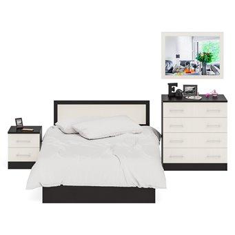 Спальный гарнитур Фиеста Кровать 1200 + Тумба + Комод + Зеркало венге/дуб лоредо