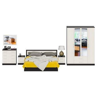 Спальня Фиеста Кровать 1800 + Две тумбы + Шкаф 4-х створчатый + Комод + Зеркало венге/дуб лоредо