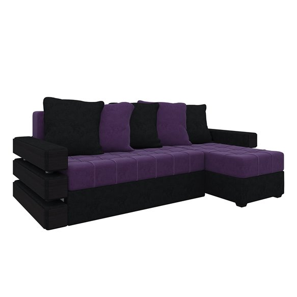 Диван угловой Венеция микровельвет фиолетовый+черный