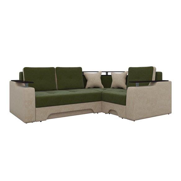 Угловой диван Комфорт микровельвет зеленый+бежевый